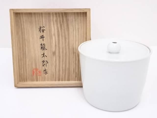 【IDnet】 桜井龍太郎造 白磁水指【中古】【道】