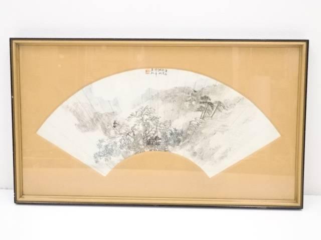【IDnet】 中国画 庚辰年(1880年) 爽軒筆 風景図 肉筆紙本扇面額装【中古】【道】
