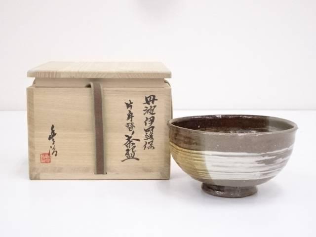 【IDnet】 丹波焼 市野豊治造 伊羅保片身替茶碗(共箱)【中古】【道】