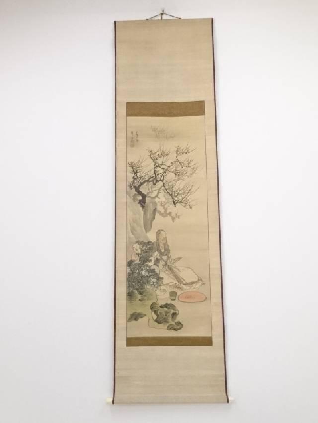 【IDnet】 古物 日本画 長沢芦雪款 人物図 肉筆絹本双幅掛軸 (保護箱)【中古】【道】