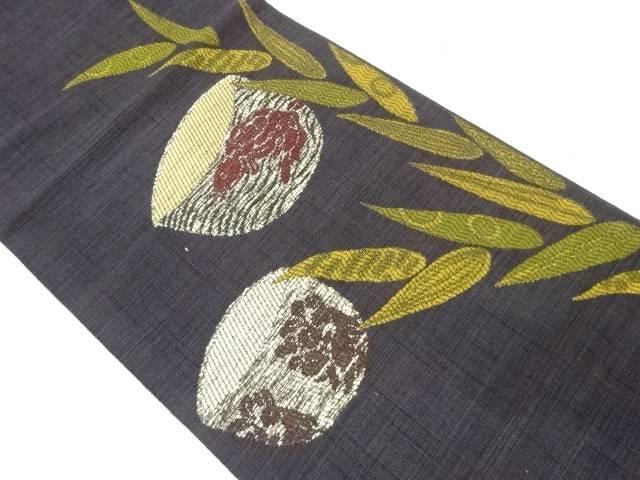 【IDnet】 笹に茶碗・荒磯模様織出し袋帯【リサイクル】【中古】【着】