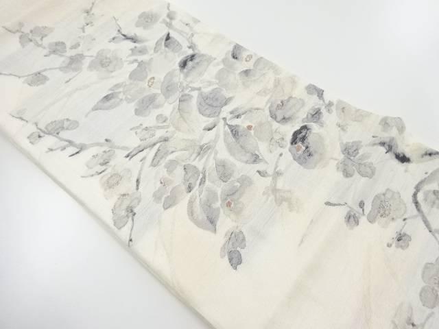 【IDnet】 未使用品 岡文織物製 紗 椿に梅模様織出し袋帯【リサイクル】【着】