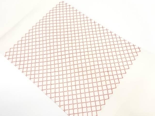 【IDnet】 塩瀬斜め格子模様刺繍名古屋帯【リサイクル】【中古】【着】