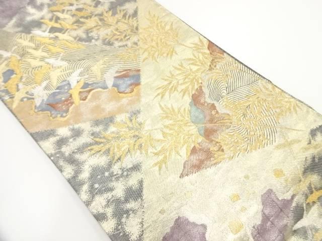【IDnet】 じゅらく製 切り嵌め風流水に群鶴模様織出し袋帯【リサイクル】【中古】【着】