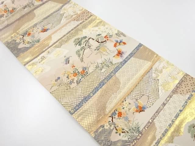【IDnet】 本金松藤に蝶模様織出し袋帯【リサイクル】【中古】【着】