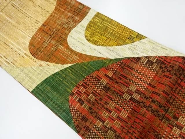 【IDnet】 リボン織り切り嵌め抽象模様洒落袋帯【リサイクル】【中古】【着】