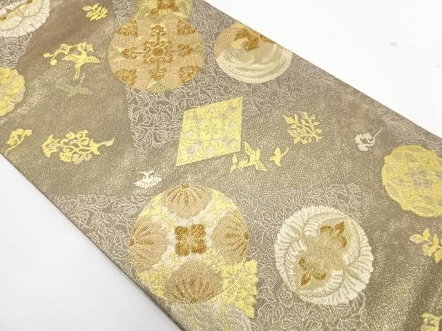 【IDnet】 丸紋に花鳥模様織出し袋帯【リサイクル】【中古】【着】
