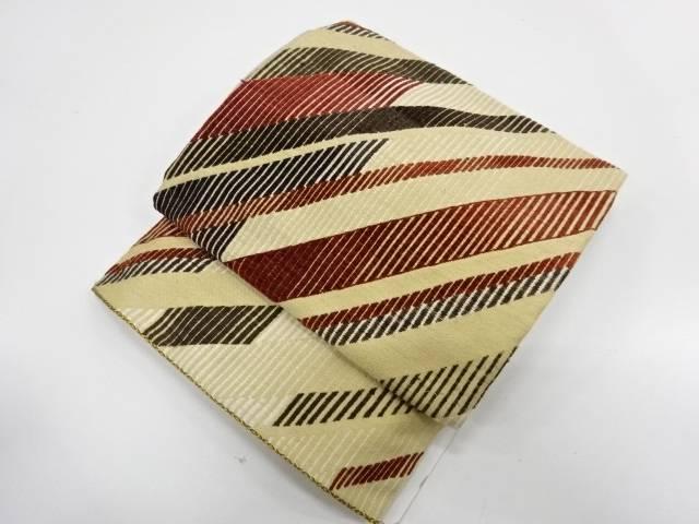 【IDnet】 未使用品 手織りビロード変わり縞模様織出し作り帯【リサイクル】【着】