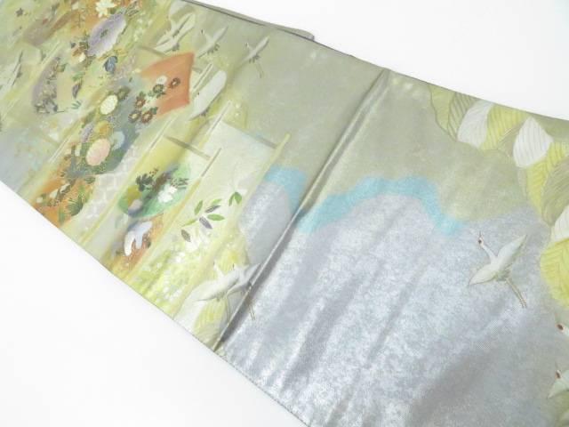 【IDnet】 西陣織 地紙に古典草花・飛鶴文【リサイクル】【中古】【着】 袋帯 螺鈿