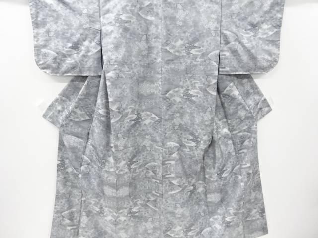 【IDnet】 未使用品 地紙に家屋・草花模様織り出し本場大島紬着物【リサイクル】【着】