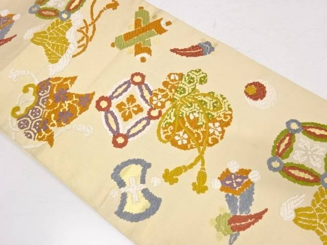 【IDnet】 川島織物製 宝尽くし模様織出し袋帯【リサイクル】【中古】【着】