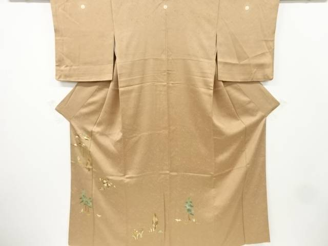 【IDnet】 東京友禅樹木に松・笹・花模様刺繍三つ紋色留袖【リサイクル】【中古】【着】