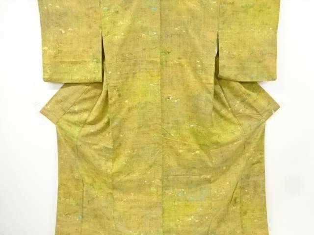 抽象模様手織り真綿紬着物【リサイクル】【中古】【着】 【IDnet】