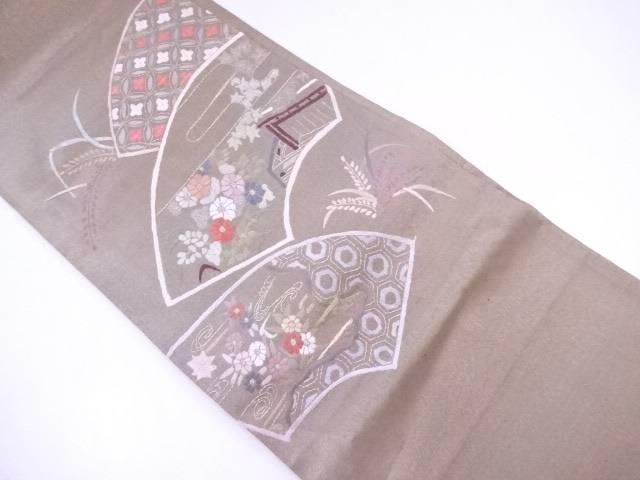 【IDnet】 袋帯 未仕立て 地紙に古典草花文【リサイクル】【中古】【着】