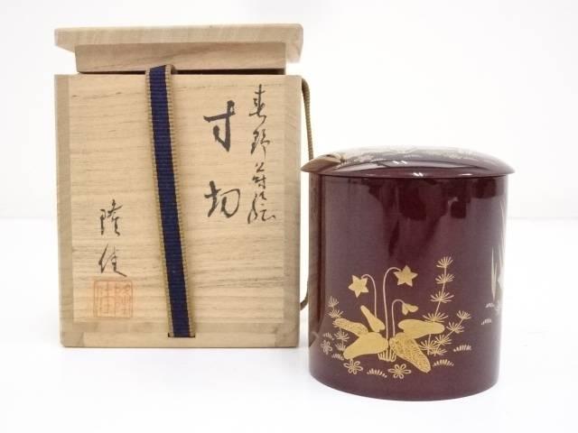 【IDnet】 隆佳造 溜塗春野蒔絵寸切茶器(共箱)【道】:アイディーネット