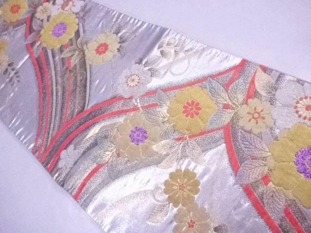 【IDnet】 袋帯 刺繍 曲線に花文【リサイクル】【中古】【着】