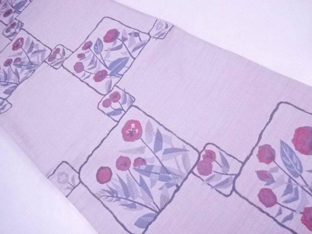 【IDnet】 袋帯 紬織 色紙に花文【リサイクル】【中古】【着】