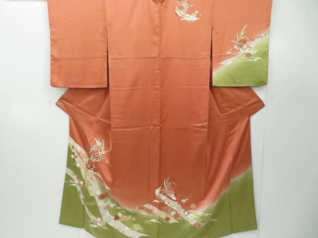 【IDnet】 訪問着 熨斗に古典草花文 着物【リサイクル】【中古】【着】