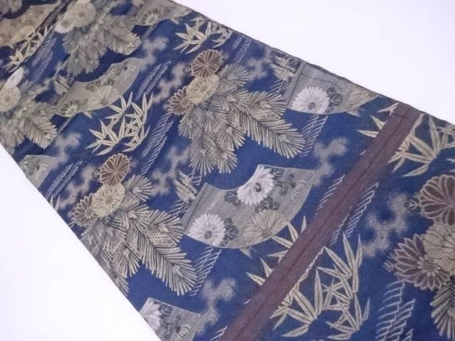 【IDnet】 丸帯 刺繍 扇に古典草花文【アンティーク】【中古】【着】