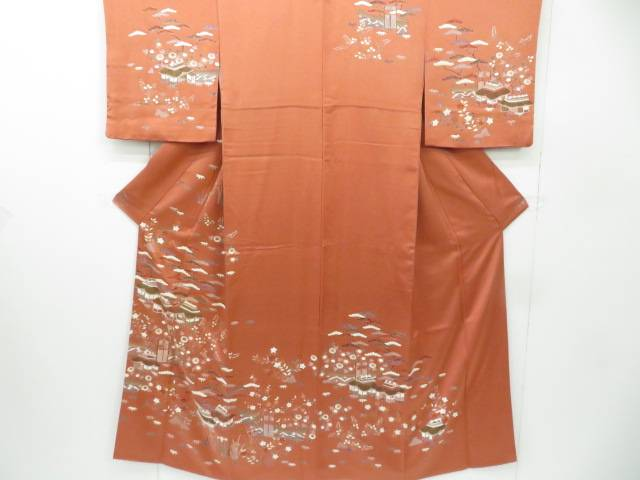【IDnet】 訪問着 金駒刺繍 家屋に松竹梅と菊・桔梗に萩文 着物【リサイクル】【中古】【着】