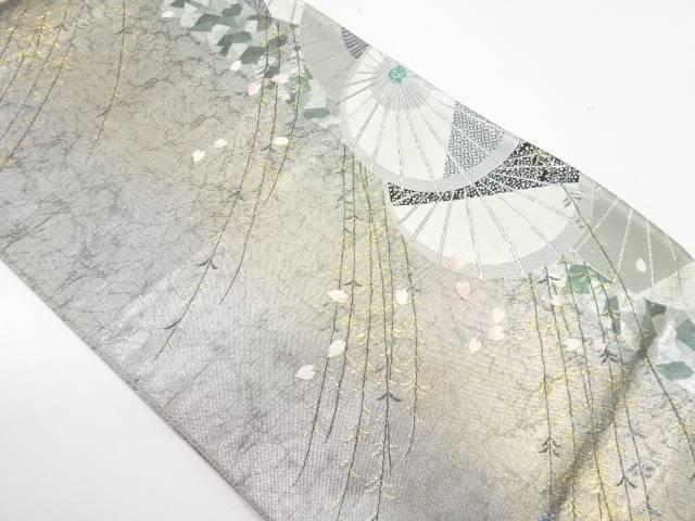 【IDnet】 番傘に花びら模様織出し袋帯【リサイクル】【中古】【着】