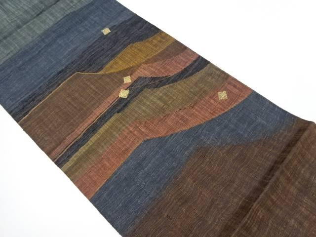 【IDnet】 紗 すくい織変わり横段に箔散らし模様織出し袋帯【リサイクル】【中古】【着】