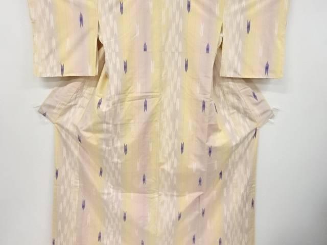 【IDnet】 米沢紬紅花染め矢羽根模様織り出し着物【リサイクル】【中古】【着】