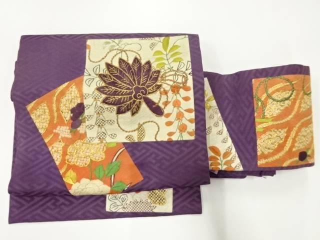 【IDnet】 小袖裂切り嵌めに草花・羽扇模様刺繍作り帯(着用可)【アンティーク】【中古】【着】