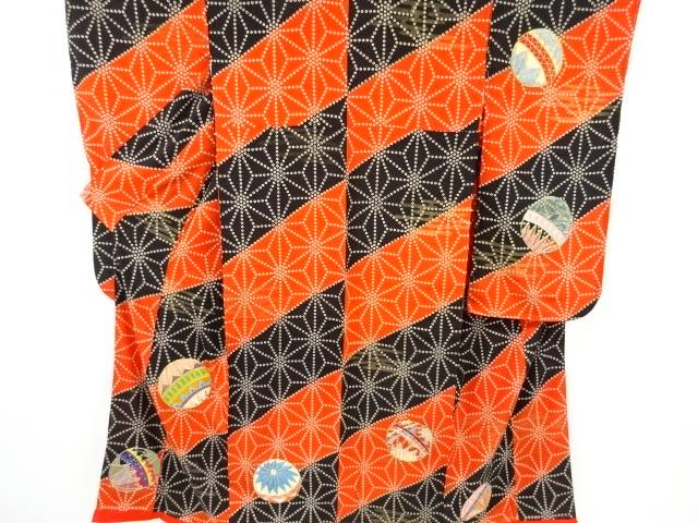 【IDnet】 錦紗麻の葉に毬模様刺繍中振袖【アンティーク】【中古】【着】