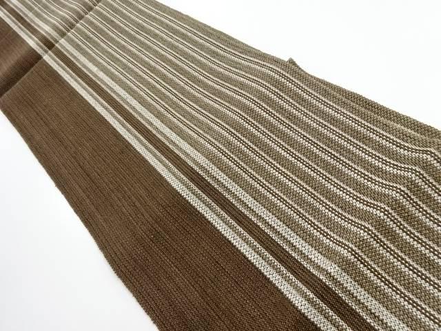 【IDnet】 手織り紬縞模様織出し名古屋帯【リサイクル】【中古】【着】