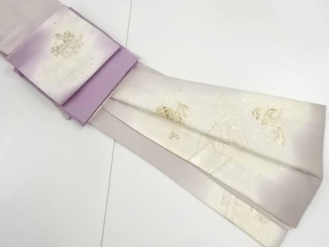 【IDnet】 汕頭蘇州刺繍寺院に貝桶・草花模様一つ紋色留袖・袋帯セット【リサイクル】【中古】【着】