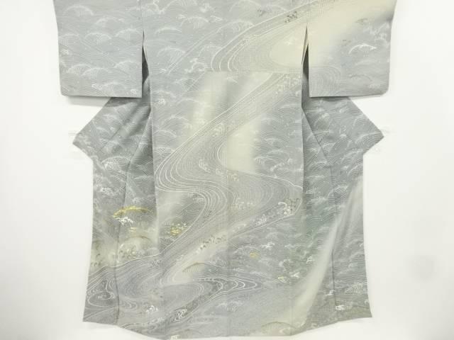 【IDnet】 汕頭蘇州刺繍荒波模様訪問着【リサイクル】【中古】【着】