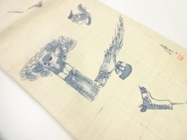 ビッグセール35%OFF IDnet 作家物 セットアップ 手織真綿紬手描き玩具に鳥模様名古屋帯 リサイクル 本日の目玉 中古 着