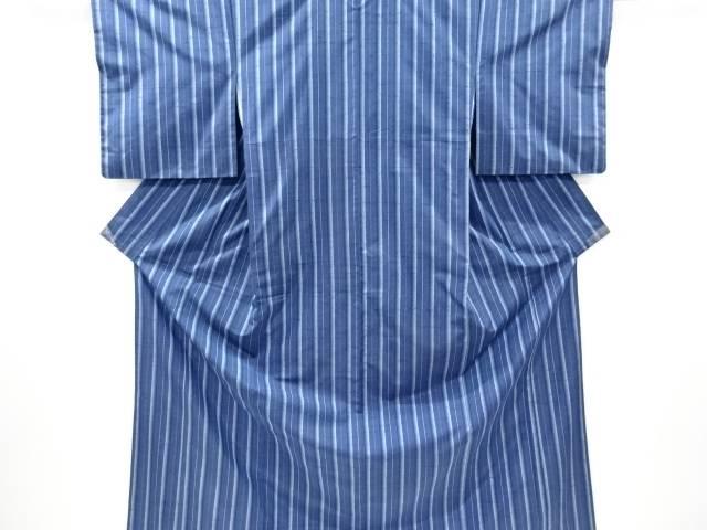 【IDnet】 無形文化財 本場牛首紬縞織り出し着物(先染め)(三越)【リサイクル】【中古】【着】