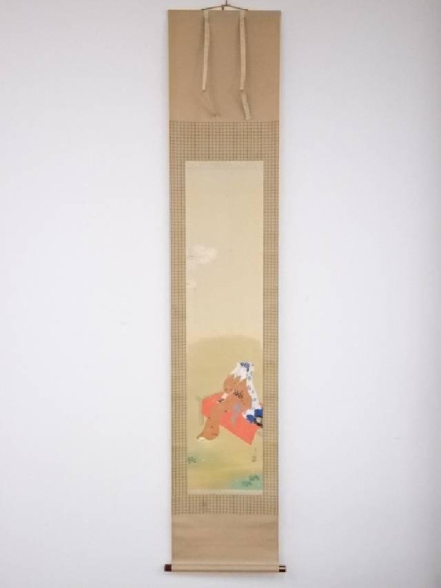 【IDnet】 小杉翠坡筆 お花見図 肉筆絹本掛軸(共箱)【中古】【道】