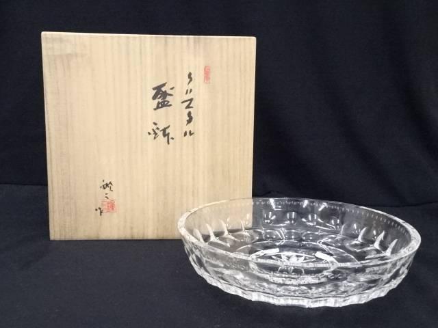 【IDnet】 各務鑛三造 クリスタル盛鉢(共箱)【中古】【道】