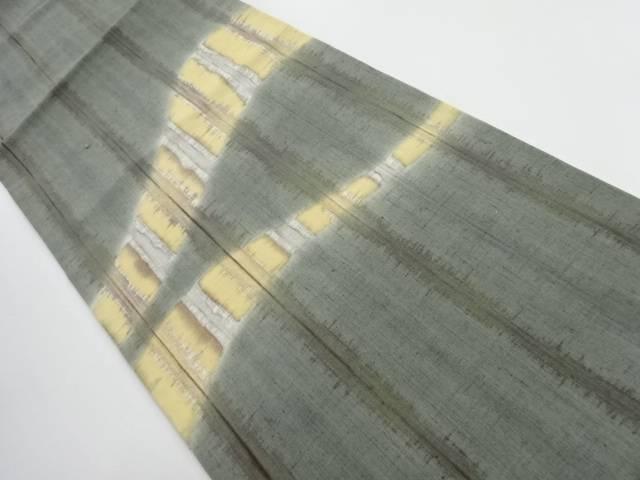 【IDnet】 草木染手織り節紬よろけ横段模様名古屋帯【リサイクル】【中古】【着】