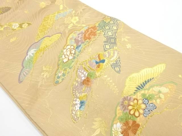 【IDnet】 寛文繍箔松に花鳥模様織出し袋帯【リサイクル】【中古】【着】