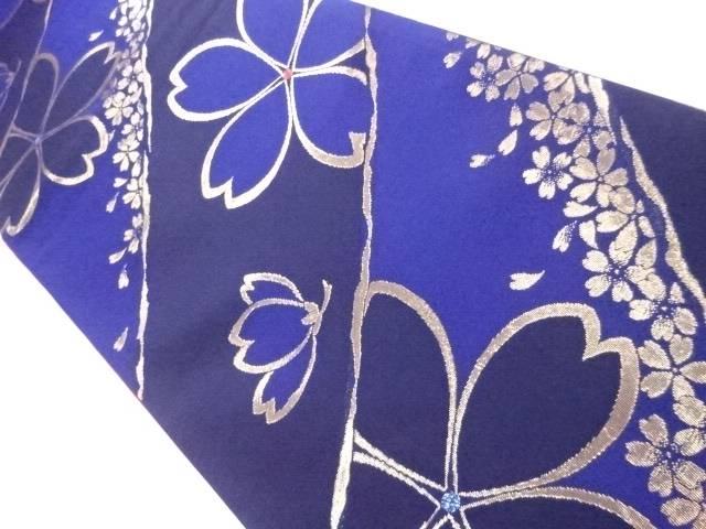【IDnet】 袋帯 刺繍 斜め縞に桜文【リサイクル】【中古】【着】