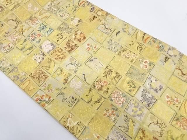 【IDnet】 色紙に草花模様織出し袋帯【リサイクル】【中古】【着】