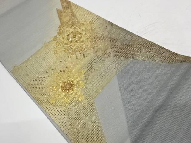 【IDnet】 未使用品 汕頭相良刺繍螺鈿華紋に花唐草模様織出し袋帯【リサイクル】【着】