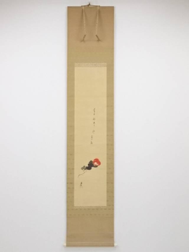 【IDnet】 大谷句佛筆 紅椿図 肉筆絹本掛軸(共箱)【中古】【道】
