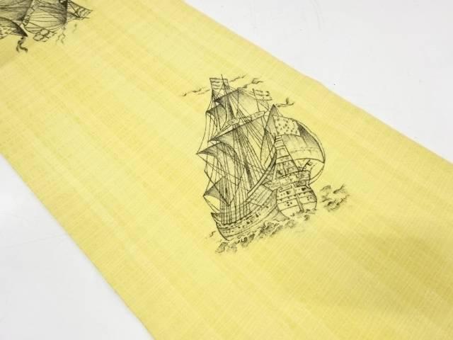 ビッグセール35%OFF IDnet 手描き帆船模様全通袋帯 リサイクル 着 !超美品再入荷品質至上! 中古 激安格安割引情報満載