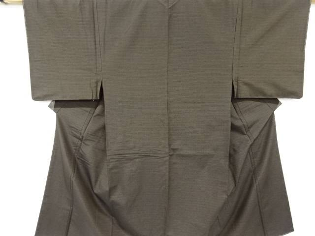 【IDnet】 未使用品 仕立て上がり 横段織り出し手織り節紬男物着物アンサンブル 長襦袢セット【着】