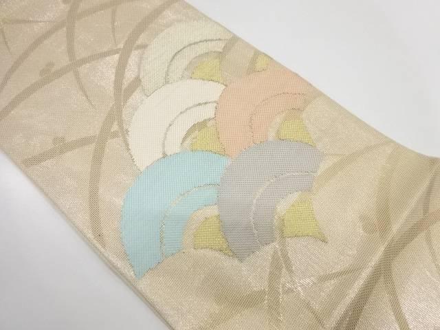 【IDnet】 露芝に青海波模様織出し夏用袋帯【リサイクル】【中古】【着】