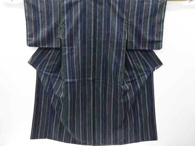 【IDnet】 縞模様織り出し手織り真綿紬着物【リサイクル】【中古】【着】