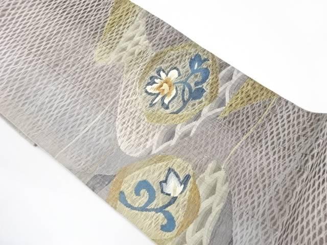 【IDnet】 未使用品 すくい織青海波に草花模様織出し袋帯【リサイクル】【着】