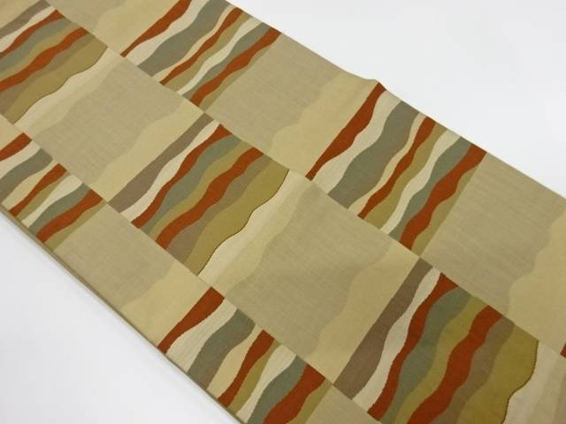 【IDnet】 市松模様織出し洒落袋帯【リサイクル】【中古】【着】