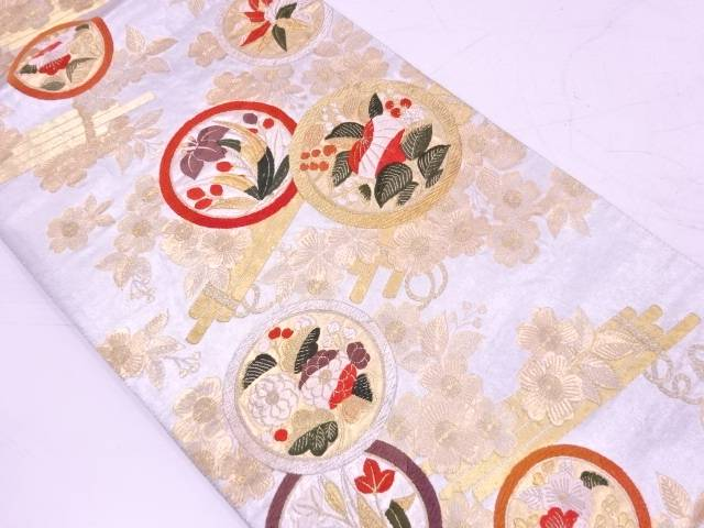 【IDnet】 丸紋に草花・花筏模様織出し袋帯【リサイクル】【中古】【着】