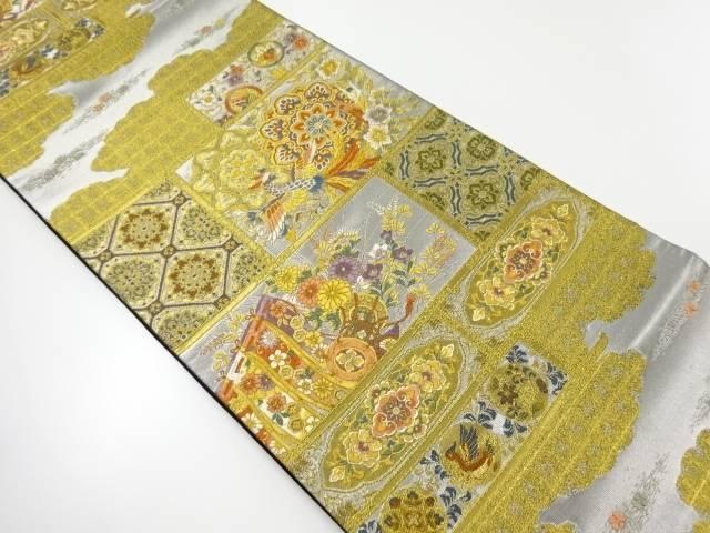 【IDnet】 金銀糸格天井に鳳凰華紋模様織出し袋帯【リサイクル】【中古】【着】